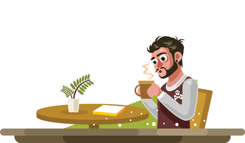 Man drinking coffee in a cafe