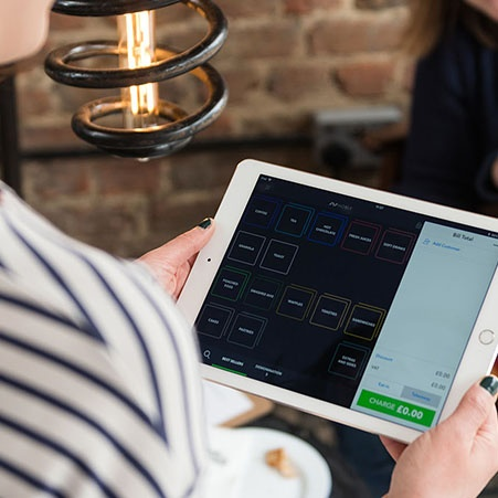Waiter using iPad POS
