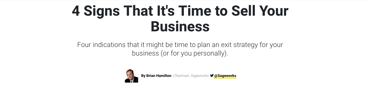 Screenshot on why it's time to sell your business