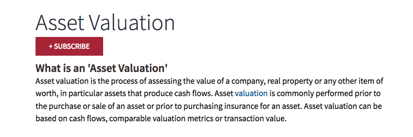 Asset valuation definition screenshot