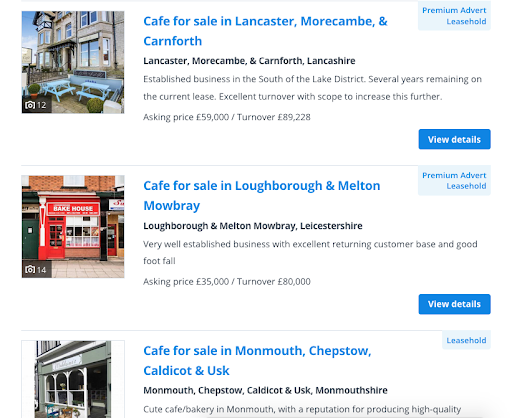 Businesses for sale listings