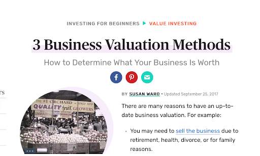 Business valuation methods screenshots
