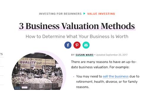 Business valuation methods screenshots
