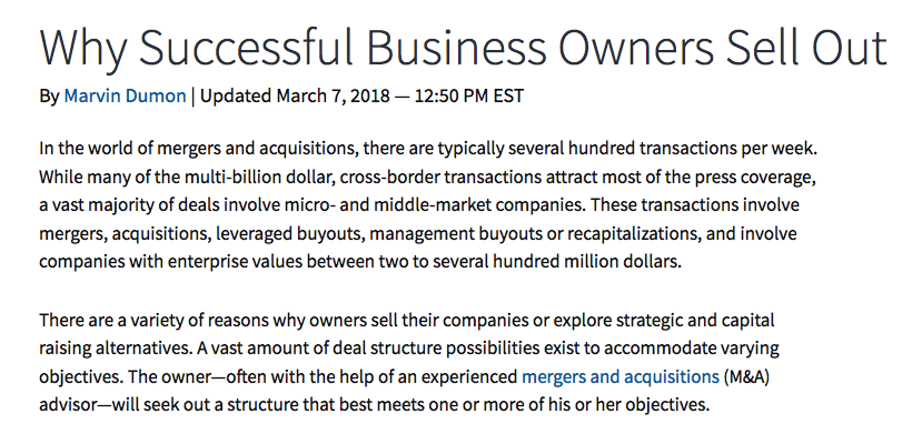 Screenshot on why business owners sell