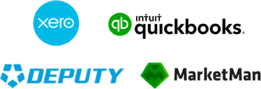 Xero, Deputy, Quickbooks and Marketman logos