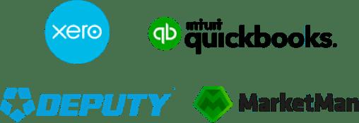 Xero, Quickbooks, Deputy, and Marketman logos