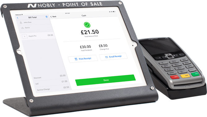 An iPad with Nobly and a payment terminal