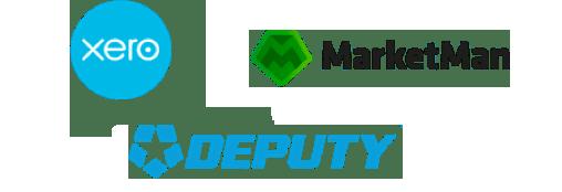 Xero, Deputy, and Marketman logos